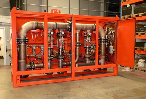 Skid-mounted deluge system using 90-10 copper-nickel. Photo courtesy of Blaze Manufacturing Solutions Ltd.